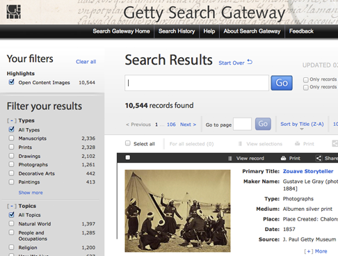 Screenshot: getty.edu