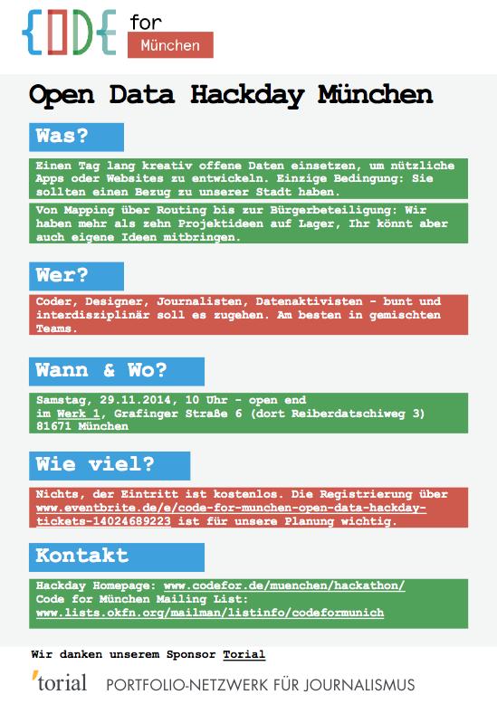 Auf diesem Flyer steht alles Wissenswerte zum Code for München Open Data Hackday