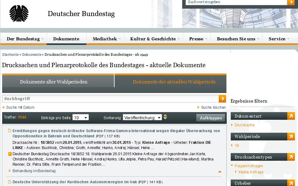Kleine Anfragen in der Bundestags-Datenbank