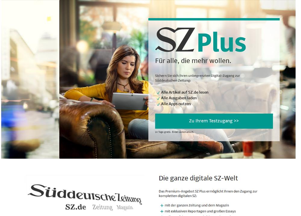 Auch die Süddeutsche hat jetzt eine Paywall