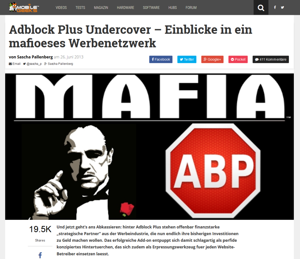 Screenshot Mobilegeeks - Adblock Plus-Artikel