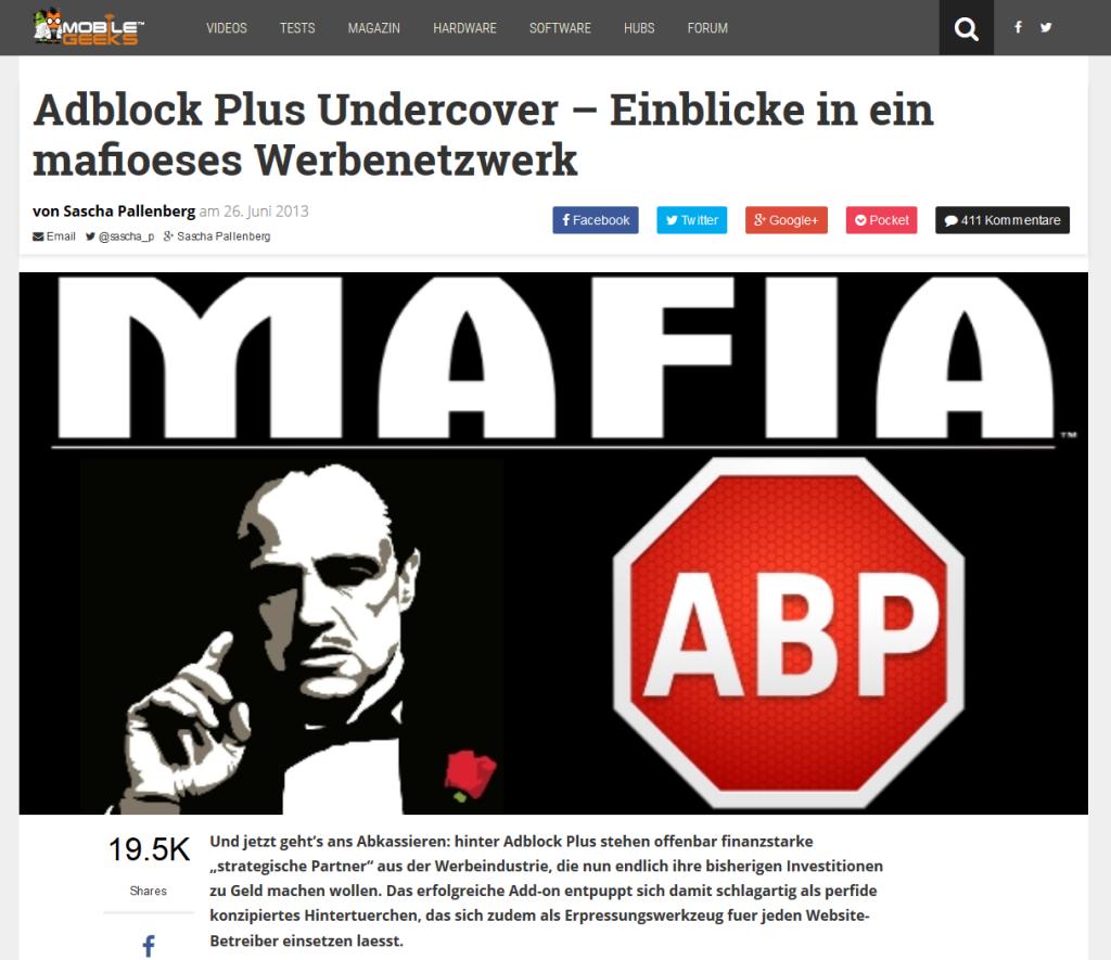 Screenshot Mobilegeeks - Adblock Plus-Artikel