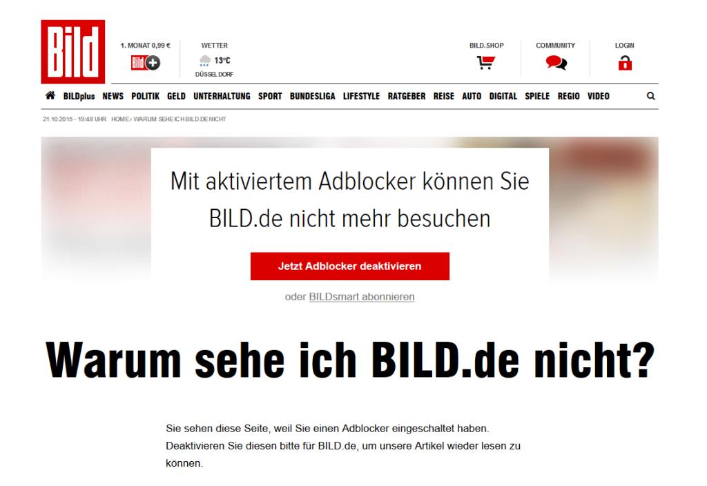 Screenshot bild.de - Adblocker - 21.10.2015