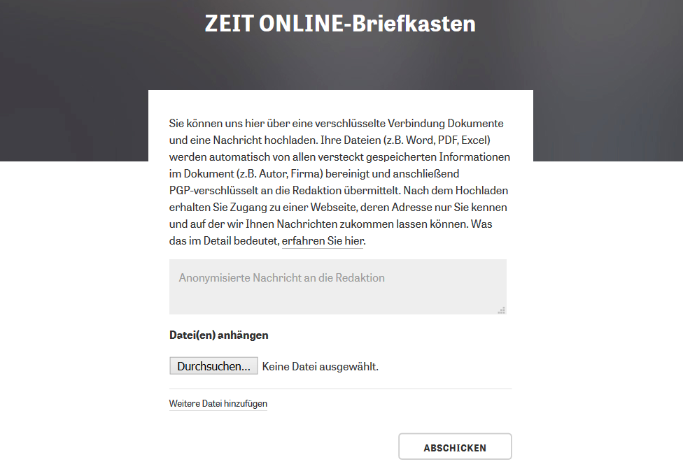 Screenshot Postbox Zeit online