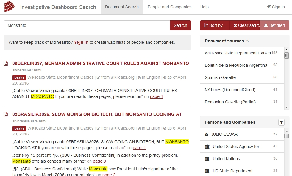 Screenshot Investigative Dashboard Search